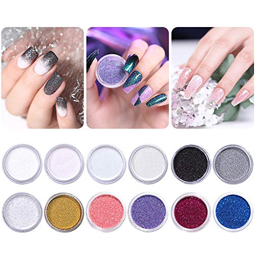 NICOLE DIARY 12 Cajas laser Nail Glitter Gradient Paillette Set Maquillaje Azúcar Glitter Nail Art Decoration