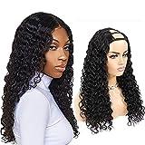 Pelucas de cabello humano en U Parte media Pelucas de cabello humano rizado de onda profunda para mujeres negras Cabello brasileño 2x4 Clip en forma de U en pelucas Sin cola 150% Densidad (16 inch)