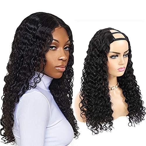 U-Teil Echthaarperücken Deep Wave Curly Echthaar Halbperücken für schwarze Frauen Brasilianisches jungfräuliches Haar 2x4 U-Form Clip in Perücken Glueless 150% Dichte Deep Curly Hair Perücken(16 inch)