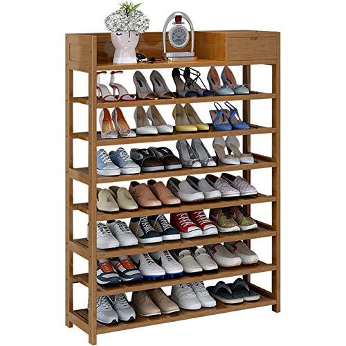 Jklt Práctico Zapatero Almacenamiento de Zapatos de bambú y Estante de Acabado de Zapatos de Entrada de 8 Capas. Fácil de Usar (Color : Coffee, Size : 90x25x125cm)