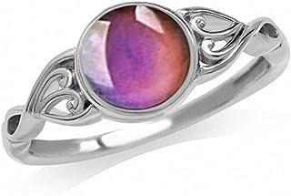 N-A التحكم في درجة الحرارة تغيير حالة تغيير اللون خواتم ريترو زهرة جولة حجر خاتم الخطوبة للنساء