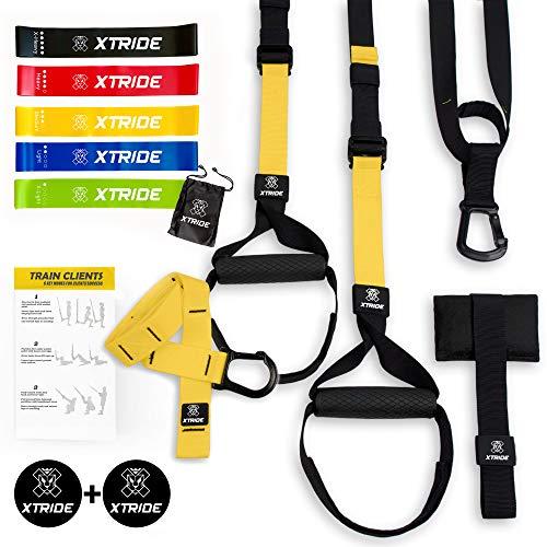 Xtride Kit de Entrenamiento en Suspensión Fitness Profesional, Cintas TRX, Bandas Elásticas, Entrenamiento Muscular con Anclaje para la Puerta