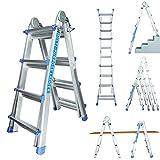 Profesional 4/7?Escalera telescópica Escalera multiusos de aluminio?Escalera caballete Escalera aluminio pintor Escalera 14peldaños)