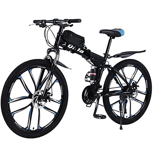 Bicicleta de montaña plegable de 26 pulgadas con doble amortiguación, marco de fibra de carbono con bolsa para bicicleta, frenos de disco, bicicleta de suspensión completa (azul)
