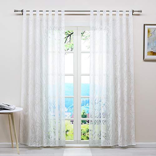 ESLIR Gardinen mit Schlaufen Vorhänge Ausbrenner Weiß Fensterschal Transparent Schlaufenschal mit Zweige Muster BxH BxH 140x145cm 1 Stück