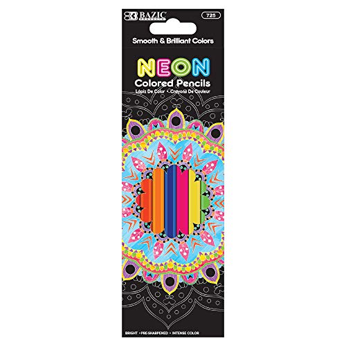 BAZIC 8 Neon Colored Pencils, Fluorescence Vibrant Set of Colored Pencil, Great Adult and Kids Art Crafts Activities Drawing Sketching Painting Doodling (1 Pack), 1-Pack