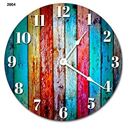 Sugar Vine Art Worn Colored Wood Boards Rustic Silent Non Ticking Round Battery Operated Handmade Hanging Large10.5 Inch Wall Clock for Bedroom Office Cottage Decoration