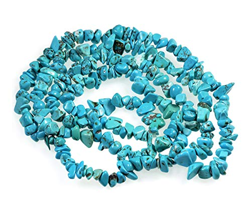 AD Beads 34 inches 5-10mm Natural Chips Nuggets Freeform Tumbled Irregular Gemstone for Necklace Bracelet Earring Chandelier Healing Crystal(Blue Turquoise)