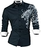 Sportrendy Men Slim Casual Long Sleeves Button Down Dress Shirt JZS041 Navy M