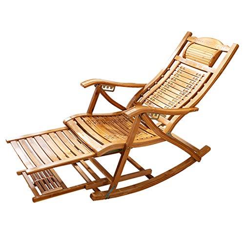 HAIYU- Sillón Reclinable Plegable, Mecedora de Madera Tumbona de Jardín Reclinable con Respaldo Ajustable de 5 Posiciones, Reposapiés y Tabla de Masaje Extensibles, Tumbona de Ocio