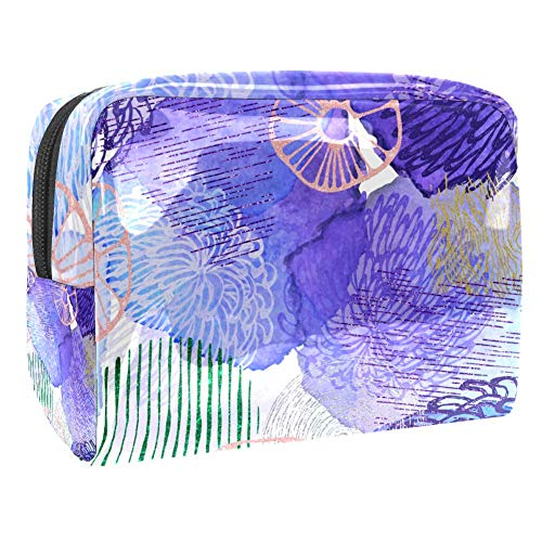 Maquillage Cosmetic Case Multifunction Travel Toiletry Storage Bag Organizer for Women - Abstract Aquarelle Glitter Purple
