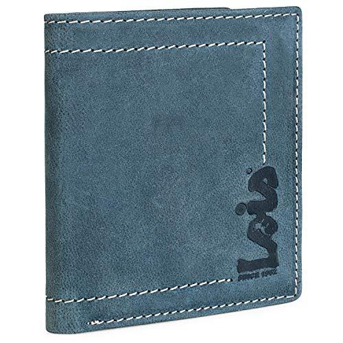 Lois - Cartera de Caballero de Piel. protección RFID. Monedero Billetero de Cuero. Tarjetas Billetes Monedas. Caja Bonito diseño 201520, Color Azul