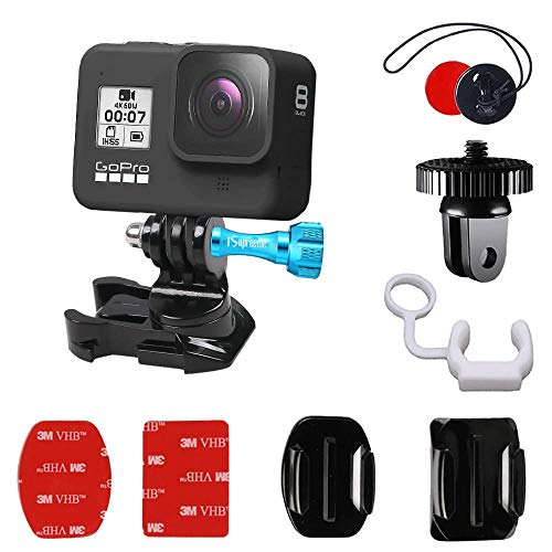 iSupreeme 360 Degree Rotate Helmet Quick Release Buckle Mount Adapter Screw Swivel for GoPro Hero 4 5 6 7 8 9 Black Silver Session, AKASO & Other Action Camera Accessories with Flat Curved Adhesive.