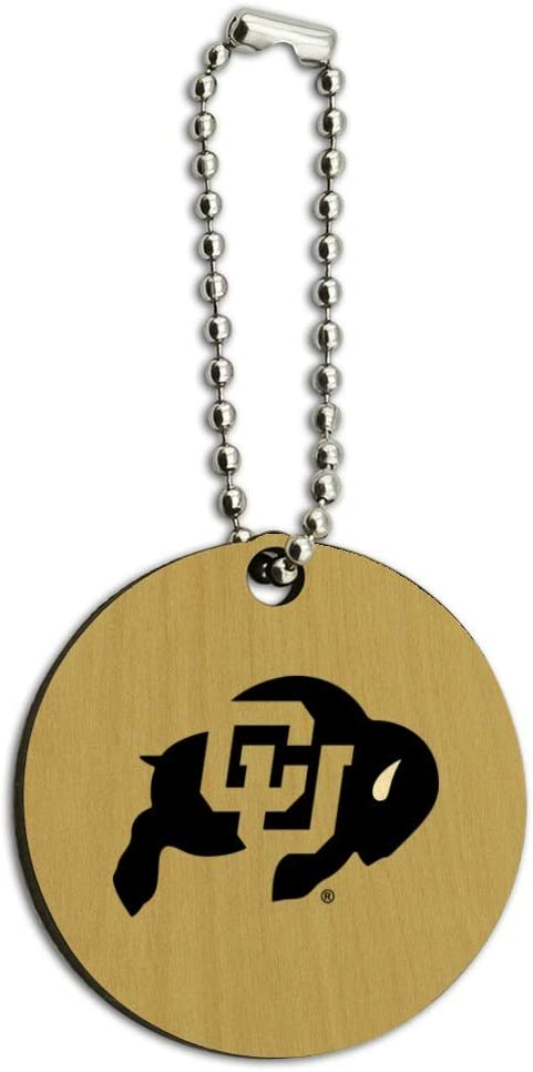 University of Colorado Logo Secondary Wood Wooden Round Keychain Key Chain Ring