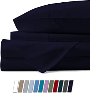 Mayfair Linen 100% Egyptian Cotton Sheets, Navy Blue Twin XL Sheets Set, 600 Thread Count Long Staple Cotton, Sateen Weave for Soft and Silky Feel, Fits Mattress Upto 18'' DEEP Pocket