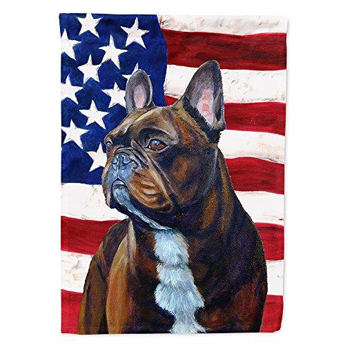 Caroline's Treasures LH9010GF USA American Flag with French Bulldog Flag Garden Size, Small, Multicolor