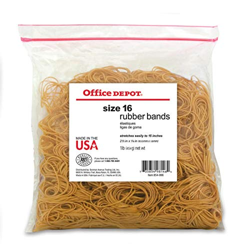 "Office Depot Brand Rubber Bands, 16, 2 1/2"" x 1/16"", Crepe, 1-Lb Bag"