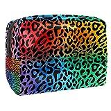 Kit de Maquillaje Neceser Textura de Leopardo de Color Make Up Bolso de Cosméticos Portable Organizador Maletín para Maquillaje Maleta de Makeup Profesional 18.5x7.5x13cm