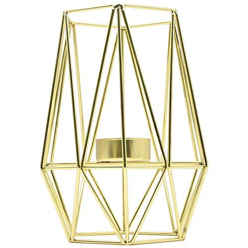 Metall Teelichthalter, Schmiedeeisen Geometrische Kerzenhalter, Eisen Kerzenhalter, Nordischen Schmiedeeisernen Geometrischen Halter für Tischdekoration Hochzeit Dekoration(Golden, L)