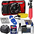 Olympus Tough TG-6 Digital Camera (Red) with Deluxe Accessory Bundle – Includes: 32gb SD Card, Floating Strap, Gripster Spider Tripod, Case + Much More by Olympus