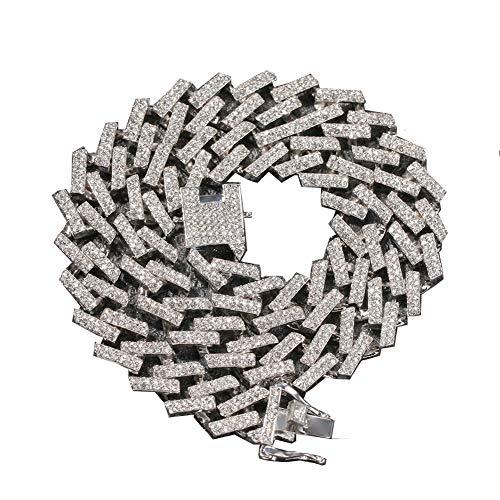 Männer Hip Hop Iced Out Bling Kette Halskette Mode 15 Mm Breite Kubanische Ketten Halsketten Choker Hiphop Männlichen Schmuck Geschenke,Silver,18inch