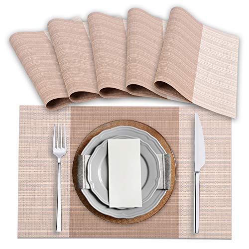 Amazon Brand – Eono 6 Set de Table en PVC, Antidérapant et Imperméable, Lavable, Respectueux de l