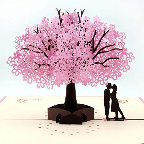 Handmade Cherry Blossom Card Pop Up 3D Flower Card Romantic Love Letter Greeting Anniversary Wedding Valentine Birthday Gift Card Blank Stationery Paper Card for Wife Girlfriend Mother Bride and Groom