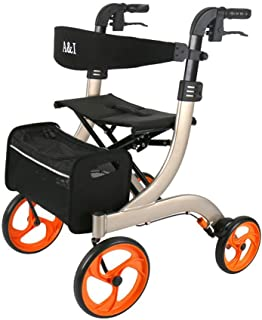 Rollator Walker, Medical Aluminum Alloy Four Wheel Rollator,Adjustable Handle Height and Backrest,Padded Seat,