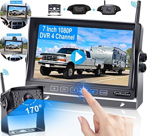 Wireless Backup Camera 7 Inch Touch Key DVR Monitor for RV HD 1080P...