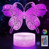 Lámpara de mariposa con luz nocturna para niños con mando a distancia 7 colores 16 colores cambiantes, decoración de habitación de niños, Lumière d'illusion 3D,Cadeau de vacances