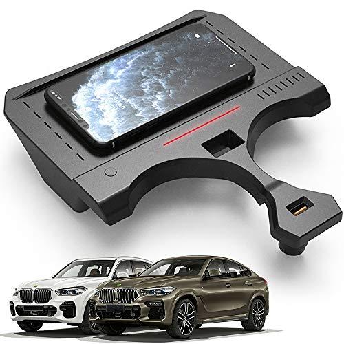 Braveking1 Cargador Inalámbrico Coche para BMW X5 2019 2020 2021 Consola Central Accesorios Panel, 15W Carga Rápida Auto Teléfono Cargador Almohadilla con Puerto USB per iPhone Samsung Huawei