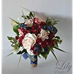 Wedding Bouquet, Bridal Bouquet, Bridesmaid Bouquet, Silk Flower Bouquet, Wedding Flower, Burgundy, Sangria, Wine, Peach, Pink, Blush, Navy Blue, Navy, Blue, Burlap, Greenery, Lily of Angeles