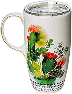 Watercolor Cactus Ceramic Latte Travel Cup - 5 x 7 x 4 Inches