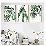 xwwnzdq 3 STÜCKE Aquarell Pflanze Grüne Blätter Leinwand