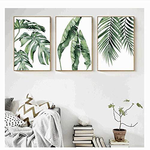 xwwnzdq Aquarell Pflanze Grüne Blätter Leinwand Malerei Kunstdruck Poster Bild Wand Modernen Minimalistischen Schlafzimmer Wohnzimmer Dekoration 50 x 70 mx3 Kein Rahmen