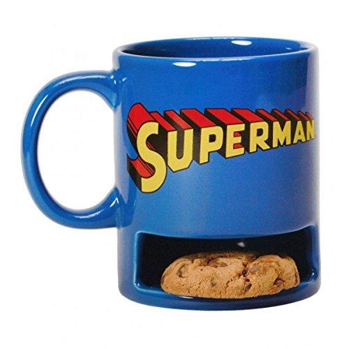 Superman Kaffeebecher mit Keksfach - Superman Logo Tasse Kaffeetasse