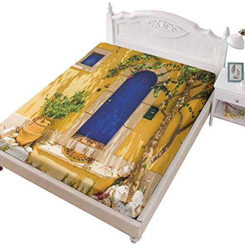 SoSung Twin Size Fitted Sheet 3D Printed with Yellow Spring Blooms,Spring Flower Watercolor Flourishing Blooms Artsy,Bed Cover with All-Round Elastic Deep Pocket for Comfort