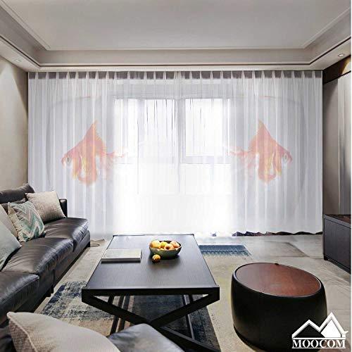 MOOCOM Gold Fish in Aquarium France,Room Curtains for Bedroom 2 Panel Bowl Bedroom Curtains Sheer 2Pcs l 78''x94''