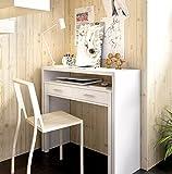 LIQUIDATODO ® - Mesa de escritorio extensible moderna y barata de 100cm en blanco brillo