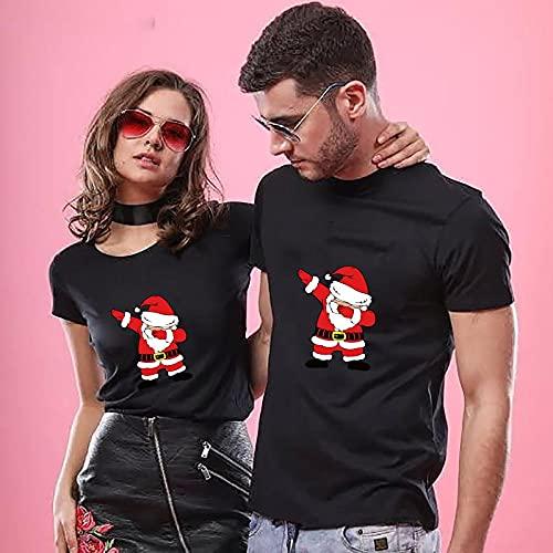 VIQNJ Pareja Camiseta Summer Pareja Les Encanta Imprimir Ropa Pareja Camiseta Navidad algodón Casual de Manga Corta Pareja Top-Christmas Black_Men M