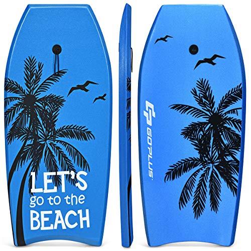 Goplus Tavola da Surf, Tavola da Nuoto e Surf con Board XPE e Fondo HDPE con Cinghia Nylon per Caviglie, Bodyboard da Surf per Mare Spiaggia Piscina per Ragazzi e Adulti (Azzurro)