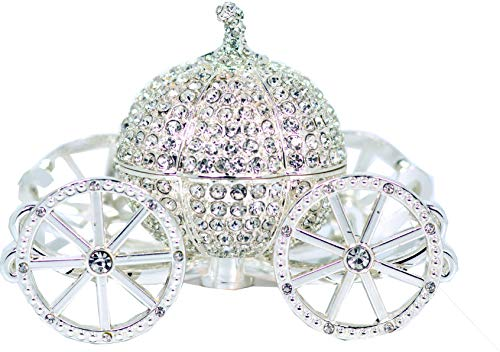 VI N VI Silver Rhinestone Princess Cinderella Crystal Pumpkin Carriage Trinket Box, Jewelry Box / Hand Painted Collectible Figurine and Decorative Jewelry Display, Holder, and Organizer