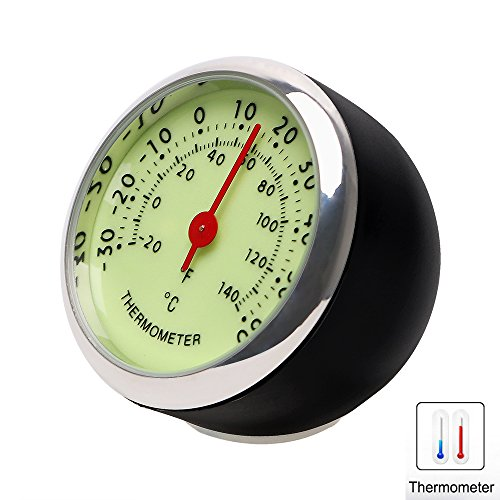 iTimo Car Luminous Quarzuhr, Mini Car Hygrometer und Thermometer, 3 Modelle, für Automobildekore (Thermometer)