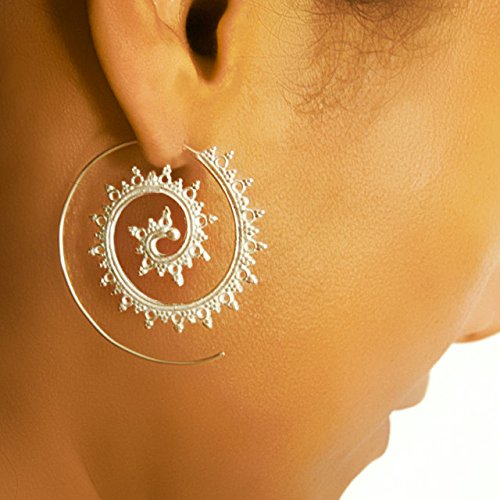 Silver Earrings - Great interest Gyp Free shipping New Spiral Tribal
