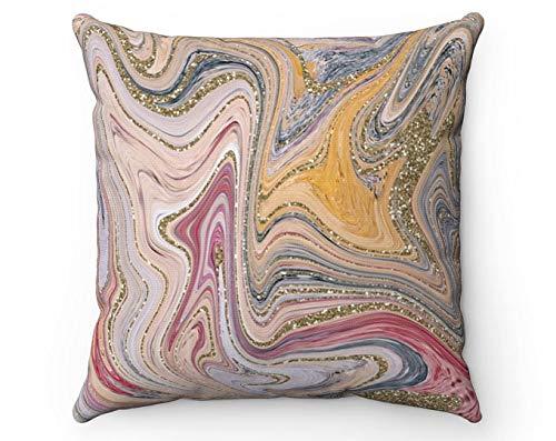 Funda de almohada abstracta rojo azul oro beige rojo remolino mármol moderno conjunto de baño decorativo sofá almohada