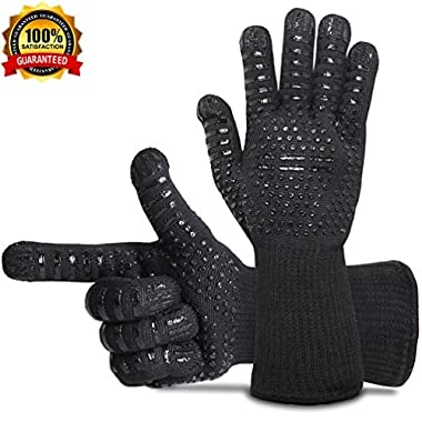 BBQ Gloves Grill Gloves Oven Gloves 932°F Extreme Heat Resistant Gloves EN407 Certified 1 Pair 14  Long For Extra Forearm Protection BBQ Kitchen Oven Mitts (Black)