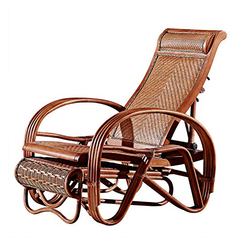 YUYTIN Multifunctional Rocking Chair Rattan Wooden Rocking Chair Recliner for The Elderly, Footrest with Massage Wheel, Garden Lounge Chair