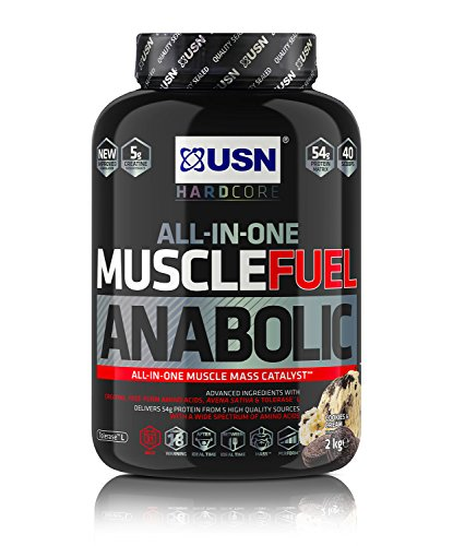 USN Muscle Fuel Anabolic All-In-One Muscle Builder Protein Shake, with Creatine and Whey Protein Cookies and Cream 2 kg