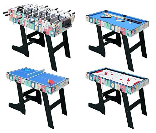 hlc 121.5 * 61 * 81.3 cm Zusammenklappbar 4 in 1 multifunkniertes Tischspiel - Tischfußball(Tischkiker)/Tischtennis/Air Hockey/Billard-Tisch