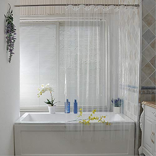 Zonfer Bagno Cortina 1pc Impermeabile Trasparente Shower Curtain White Clear Bagno Cortina Ganci di Plastica in Poliestere 180 * 180cm